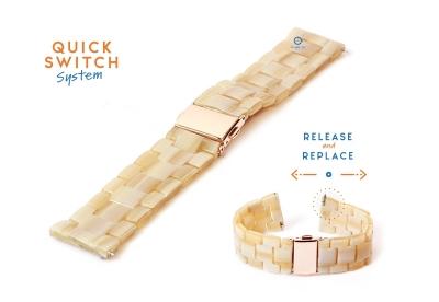 Horlogeband 22mm resin beige