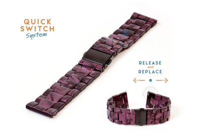 Horlogeband 20mm resin graniet paars