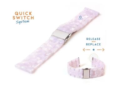 Horlogeband 20mm resin parelmoer roze