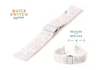 Horlogeband 20mm resin parelmoer wit