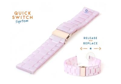 Horlogeband 20mm resin roze