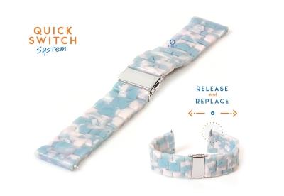 Horlogeband 20mm resin turtle blauw/wit