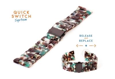 Horlogeband 20mm resin turtle bruin/wit/groen
