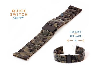 Horlogeband 20mm resin turtle donkergroen