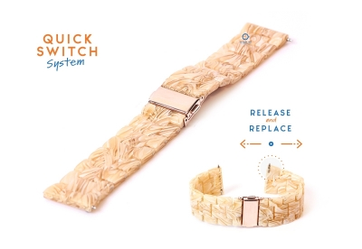 Horlogeband 20mm resin zuurstok beige