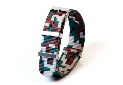 Horlogeband 20mm nylon - pixel groen/bruin