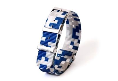Horlogeband 20mm nylon - pixel blauw