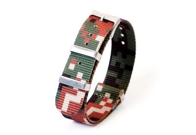 Horlogeband 20mm nylon - pixel bruin/groen