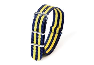 Horlogeband nylon 20mm donkerblauw/geel