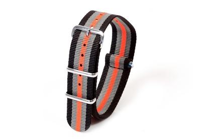 Horlogeband nylon 20mm zwart/grijs/oranje