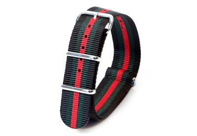 Horlogeband nylon 20mm zwart/groen/rood