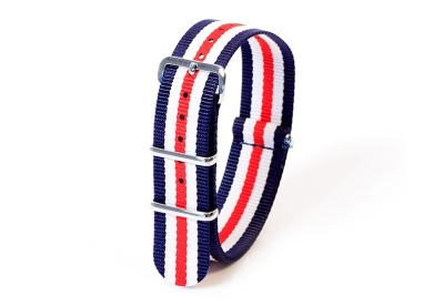 Horlogeband nylon 20mm blauw/wit/rood