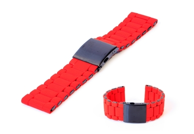 Horlogeband 28mm staal rood