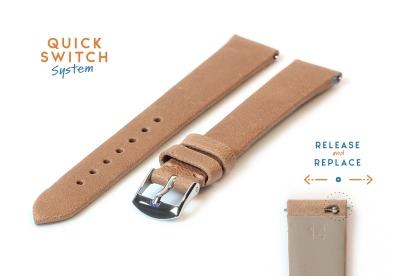 Horlogeband 14mm zandkleur leer