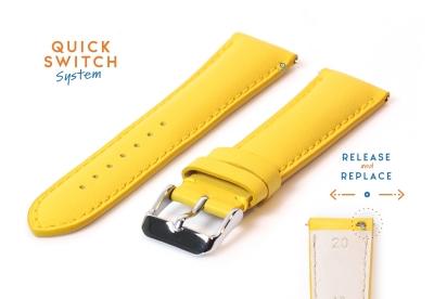 Horlogeband 20mm kalfsleer geel