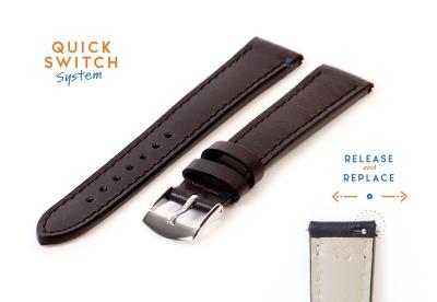 Horlogeband 16mm zwart leer