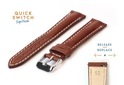 Horlogeband 16mm bruin stierenleer