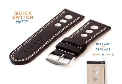 Horlogeband 26mm racing zwart met wit stiksel