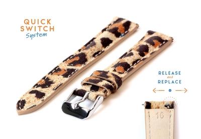 Horlogeband 16mm leopard print