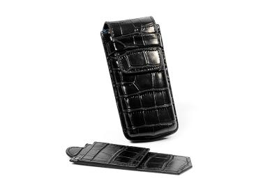 Horloge reisetui voor 1 horloge - croco zwart