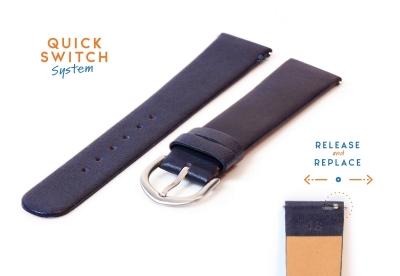 Horlogeband 18mm naadloos donkerblauw leer
