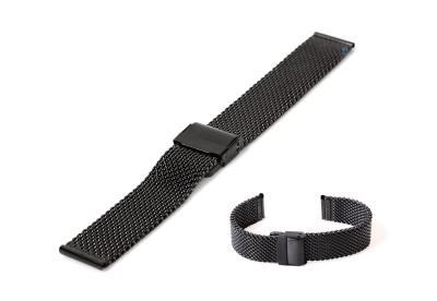 Milanese horlogeband 18mm zwart (grof)
