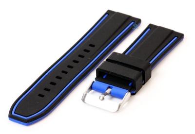 Siliconen horlogebanden 24mm zwart/blauw (reversible)