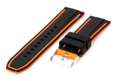 Siliconen horlogebanden 24mm zwart/oranje (reversible)