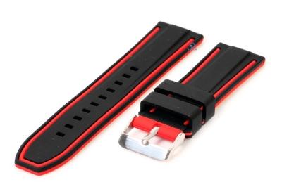 Siliconen horlogebanden 24mm zwart/rood (reversible)