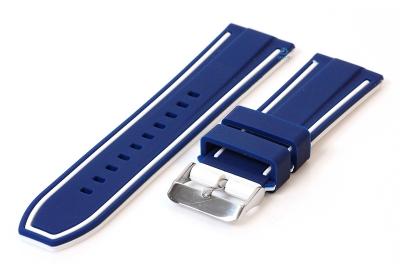 Siliconen horlogebanden 24mm blauw/wit (reversible)