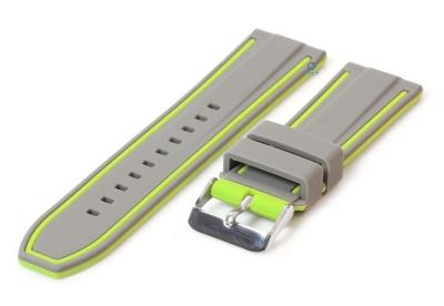 Siliconen horlogebanden 24mm grijs/groen (reversible)