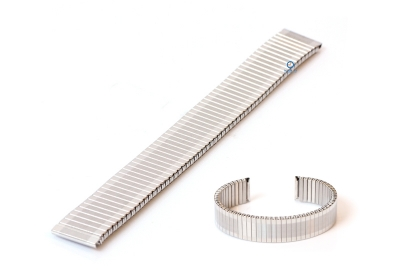 Rekbare horlogeband zonder sluiting - 16mm zilver