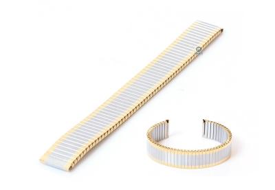 Rekbare horlogeband zonder sluiting - 16mm goud/zilver