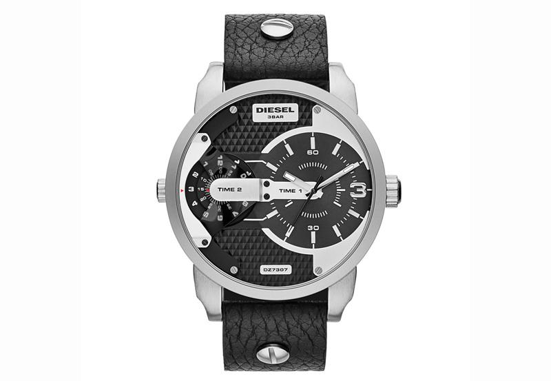 DIESEL DZ7307 - Массивные мужские часы, оснащенные двумя механизмами и двумя часовыми поясами на кожаном ремешке