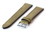 Horlogeband 20mm kakigroen leer
