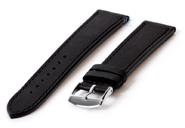 Horlogeband 20mm zwart leer