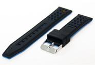 20mm siliconen horlogeband zwart-blauw