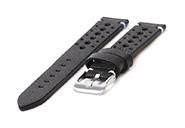 Horlogeband 20mm vintage perforated zwart leer